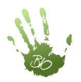 Ponga verde la impresión de la mano stock de ilustración