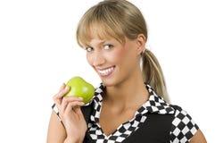 Ponga verde la manzana y sonría Foto de archivo