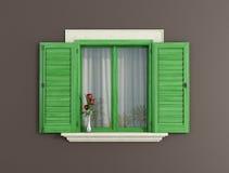 Ponga verde la ventana de madera ilustración del vector