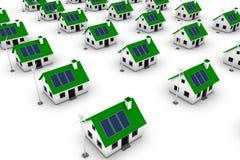 Ponga verde las casas de la energía Imagen de archivo libre de regalías
