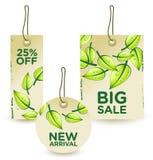 Ponga verde las etiquetas de la venta fijadas Fotografía de archivo libre de regalías
