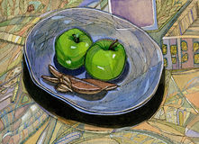 Ponga verde las manzanas en la placa ilustración del vector
