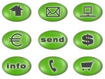 Ponga verde los iconos Imagen de archivo