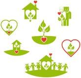 Ponga verde los iconos Fotos de archivo