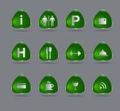 Ponga verde los iconos del hotel Fotos de archivo libres de regalías