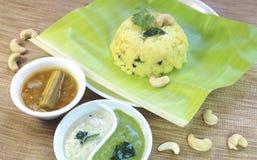 Pongal com sambar e chutny imagens de stock royalty free