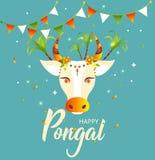 Pongal feliz Vaca y arroz adornados Tarjeta de felicitación para el festival de cosecha indio Ilustración del vector ilustración del vector