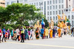 Free Pongal Festival Procession, Harvest Indian Festival, Taking Place In January In Little India District In Singapore Royalty Free Stock Photos - 191919308