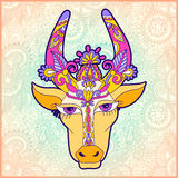 Pongal floral paisley pattern with cow Stock Image