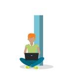 Pongo letras y muchacho que se sienta con el ordenador portátil ABC vector Imagen de archivo