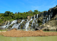 Pongour瀑布在越南 库存照片