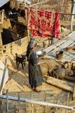 PONGSALI, ЛАОС - АПРЕЛЬ 2014: индигенная племенная деревня Akha Стоковые Изображения