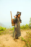 PONGSALI, LAOS - APRIL 2014: einheimisches Stammes- Akha-Dorf Stockfotos