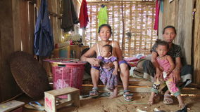 PONGSALI, LAOS - APRIL 2014: Homestay tribal Akha house stock video footage