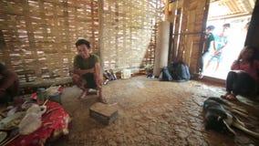 PONGSALI, LAOS - APRIL 2014: Homestay tribal Akha house stock video footage
