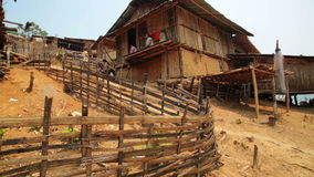 PONGSALI, LAOS - APRIL 2014: indigenous native Akha tribe village stock video