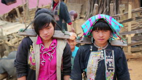 PONGSALI, LAOS - APRIL 2014: indigenous native tribal people stock video footage