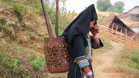 PONGSALI, LAOS - APRIL 2014: indigenous native tribal people stock video