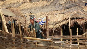 PONGSALI, LAOS - APRIL 2014: indigenous native tribal people stock video