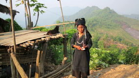 PONGSALI, LAOS - APRIL 2014: indigenous tribal native Akha village people stock video