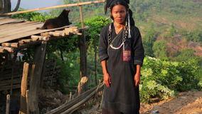 PONGSALI, LAOS - APRIL 2014: indigenous tribal native Akha village people stock video footage