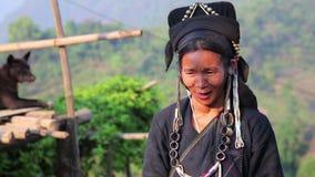 PONGSALI, LAOS - APRIL 2014: indigenous tribal native Akha village people stock video footage
