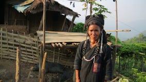 PONGSALI, LAOS - APRIL 2014: indigenous tribal native Akha village people stock video