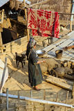 PONGSALI LAOS - APRIL 2014: infödd stam- Akha by Arkivbilder