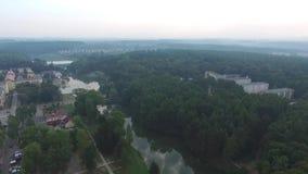 Poniatowa, cidade pequena, vista aérea filme