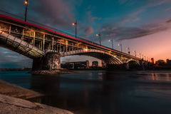 Poniatowski Bridge. Long exposure photography of bridge in Warsaw, Poland royalty free stock photography