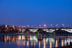 Poniatowski Bridge by Night in Poland Royalty Free Stock Photos