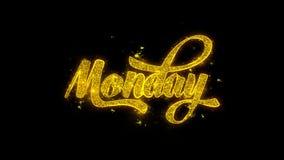 Poniedziałek typografia Pisać z Złotymi cząsteczek iskier fajerwerkami ilustracja wektor