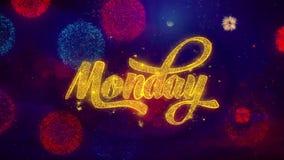 Poniedziałku powitania teksta błyskotania cząsteczki na barwionych fajerwerkach
