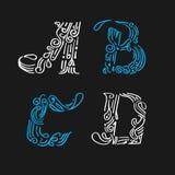 Poniendo letras a la diseño-mano determinada dibujada Fotografía de archivo