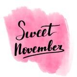 Poniendo letras a la inscripción noviembre dulce motivación stock de ilustración
