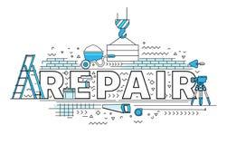 Poniendo letras a la línea plana conceptos de diseño de la reparación ilustración del vector