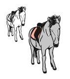 Ponny med sadel 1 vektor illustrationer