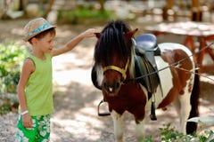 Ponny och pojke Arkivbild
