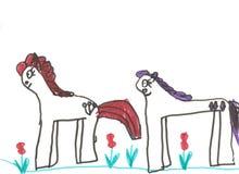 ponnyer två Arkivbilder