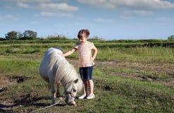 Ponnyhäst och liten flicka Arkivbild