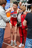 Ponomarev Timur - third place at XXI Moscow supermarathon Royalty Free Stock Photo
