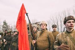 Ponowny Ubierający Jako Rosyjscy Radzieccy piechota żołnierze świat Zdjęcia Stock