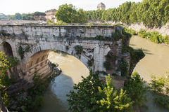 Pons Aemilius. Is the oldest Roman stone bridge in Rome, Italy. It once spanned the Tiber, connecting the Forum Boarium with Trastevere; a single arch in mid Stock Image