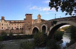 Bridges of Rome - Pons Fabricius stock image