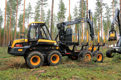 Ponsse Wisent Forwarder in a Work Demo. JAMSA, FINLAND - AUGUST 30, 2014: Ponsse forwarder Wisent in a work demonstration. Ponsse presents its new Model Series Stock Photography