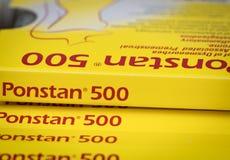 Ponstan 500 Mefenamic kwasu 500 mg pastylki pigułka dla ulgi dysmenorrhea, premenstrual syndrone, ból Podżegający lek zdjęcie stock