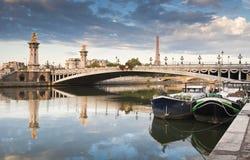 Pont亚历山大III和埃佛尔铁塔,巴黎 免版税库存图片