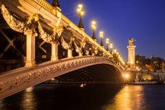 Pont亚历山大III桥梁和塞纳河微明的 法国巴黎 免版税库存图片