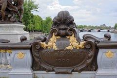 Pont亚历山大lll的看法 匾,它有日期1897, w 免版税库存照片