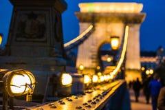 Pont à chaînes Budapest de Szechenyi le soir Images stock